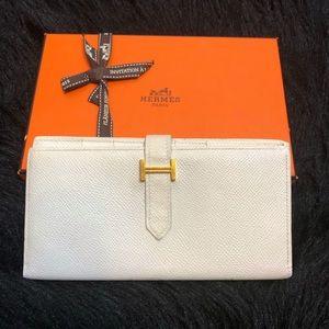 Hermès Bearn Wallet White Gold Vintage H Logo